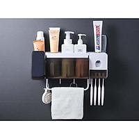 dụng cụ nhả kem đánh răng tích hợp làm kệ để đồ trong phòng tắm tặng kèm 3 ly