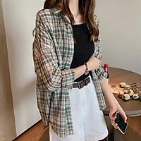 IELGY Plaid shirt women's long-sleeved loose niche