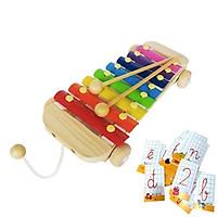 Đồ Chơi Đàn Gõ Xylophone 8 Thanh Giúp Bé Phát Triển Năng Khiếu Âm Nhạc Tặng Kèm Bộ Thẻ Cho Bé Học Chữ Cái Và Số Đếm