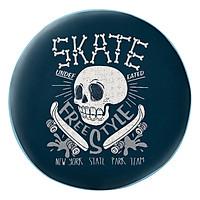 Gối Ôm Tròn Đầu Lâu Trắng Skate Nền Xanh - GOAT011
