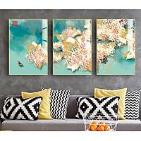 Tranh treo tường Mica Khung nhôm 3 bức Hoa bướm mùa xuân Trừu tượng tại Hà Nội