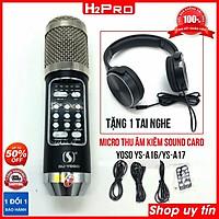 Micro thu âm livestream SU YOSO YS-A16/YS-A17 H2PRO 2 in 1 Sound card, Micro karaoke không dây tặng kèm tai nghe