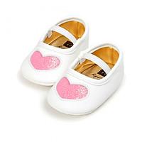 Giày tập đi cho bé gái từ 0 – 18 tháng tuổi trái tim nhũ xinh xắn – TD5