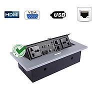 Ổ Cắm Âm Bàn Họp Desktop Socket Chính hãng TENKO TK-AS02DN Màu Bạc