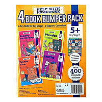 Help With HomeWork - 4 Book Bumper Pack  : Maths , Phonics , Reading and Writing and Tell the Time (Ages 5+) (Includes Awesome Poster)