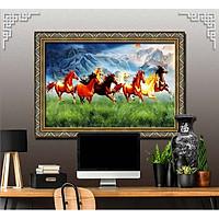 Bức tranh ngựa treo tường bát mã - MÃ ĐÁO THÀNH CÔNG chất liệu in vải lụa hoặc giấy ảnh bóng gương Mã số:L8F-00401549L8