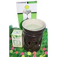 Combo đèn xông tinh dầu nến số 2 + tinh dầu sả chanh 10ml Bio Aroma tặng kèm 10 viên nến tealight (đèn giao màu ngẫu nhiên)