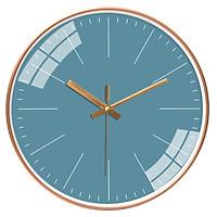 Đồng hồ treo tường tròn basic nền xanh cổ vịt viền vàng không số 30cm
