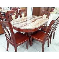 Bàn ăn mặt đá ovoan  1m5 x 6 ghế - Hàng nhập khẩu Malaysia
