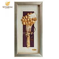 Tranh Hoa Tulip 13x26cm (nền sáng bạc) MT Gold Art- Hàng chính hãng, trang trí nhà cửa, phòng làm việc, quà tặng sếp, đối tác, khách hàng, tân gia, khai trương