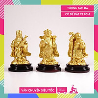Bộ tượng Phước Lộc Thọ 3 ông Tam Đa Phúc Lộc Thọ cầu tài lộc nhũ vàng - Cao 8cm