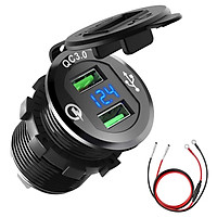 Car Motorcycle Refitted USB Charger Mobile Phone Tablet QC3.0 Metal Quick Charging