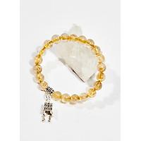 Vòng tay phong thủy nữ đá thạch anh tóc vàng charm lồng đèn 8mm mệnh thủy , kim - Ngọc Quý Gemstones