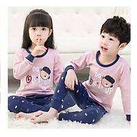 Bộ đồ ngủ thu đông in hình hoạt hình đáng yêu cho bé gái và bé trai từ 3 - 10 tuổi màu tím dưa hấu
