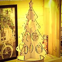 Bộ đồ chơi tô màu lắp ghép cây thông bằng gỗ, quà tặng giáng sinh cho bé