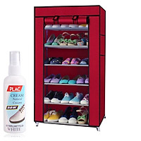 Tủ giày vải 7 tầng 6 ngăn TẶNG 1 chai tẩy trắng giày Plac