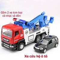 Đồ chơi mô hình xe cứu hộ vận chuyển ô tô KAVY No.8809 gồm 2 xe có nhạc và đèn