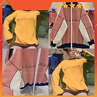 Áo nỉ stock phối màu siêu hot 2 màu vàng/hồng nguyễn hoa