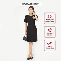 Đầm dáng ôm nữ thiết kế xếp ly eo kết hợp phụ kiện GUMAC DB571