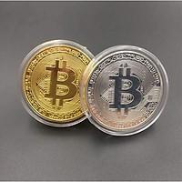 Đồng xu Bitcoin combo 2 viên khác nhau, có hộp đựng sang trọng