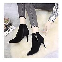 Giày boot nữ cao gót da lộn phong cách Hàn Quốc cao 9cm B149