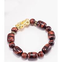 Vòng tay đá thạch anh mắt hổ nâu đỏ phối tỳ hưu bạc mạ vàng (12mm) Ngọc Quý Gemstones