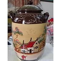 Hũ đựng rượu gạo gốm sứ Bát Tràng vẽ phong cảnh loại 30L