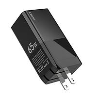 Bộ sạc nhanh PD đa năng Hukey GaN Travel Quick Charger 65W dùng cho Laptop và điện thoại (Multi Quick Charge Protocol, GaN Technology) - Hàng chính hãng