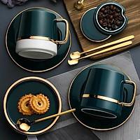 Cốc cà phê sứ phong cách Bắc Âu tặng kèm đĩa sứ xanh, thìa inox 304 mạ vàng
