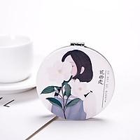 Gương mini bỏ túi kiểu gấp gọn 2 mặt tiện dụng hình tròn hoạ tiết cô gái yêu hoa  BGL47