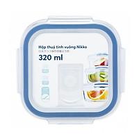 Hộp thuỷ tinh vuông cao cấp kháng khuẩn đựng thực phẩm Nikko 320ml - Nắp hút chân không