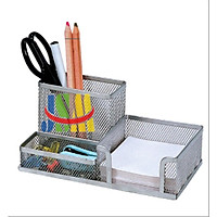 Hộp đựng bút để bàn 3 NGĂN kim loại đa năng siêu tiện ích - giao màu ngẫu nhiên