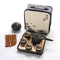 Bộ ấm trà bằng gốm sứ cao cấp 7 món có kèm khay gỗ và túi đựng - Pha Trà Đạo