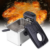 Electric Immersion Deep Fryer Frying Basket Detachable Lid with View Window Single Oil Tank Brushed Stainless Steel Hot