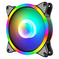 Quạt tản nhiệt, Fan case S3 RGB, Led sáng cả viền và tâm, cắm trực tiếp qua chân molex 4pin không cần Hub
