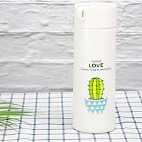 Bình Nước Thủy Tinh Giữ Nhiệt Bọc Nhựa Chữ Love 400ml (Màu Ngẫu Nhiên)