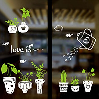 Potteds Green Leaves English Letters Wall Decal Home Sticker PVC Murals Vinyl Paper House Decoration Wallpaper