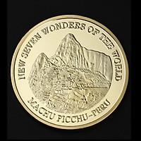 Đồng xu in Đền Machu Picchu - PERU mạ vàng, được công nhận là 1 trong 7 kỳ quan thế giới 2007, có hộp bảo quản sang trọng