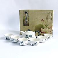 Bộ Ấm Chén Pha Trà Cao Cấp Định Châu Hoa Sen, Đường Nét Tinh Xảo, Màu Sắc Sang Trọng - SM00000