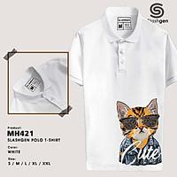 Áo Polo Nam MH421 Mèo Da Cam Đeo Kính Da Hổ Cute Đuôi Áo Mặt Trước Bên Trái 100% Cotton