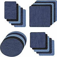 20Pcs Iron-on Patches Jean Patches Denim Fabric Patches No-Sew  Mending Cloth Knee Pant Patches 4 Sizes for Kids Women
