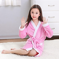 Children's pajamas coral flannel flannel middle school students boys and girls baby thick bathrobes