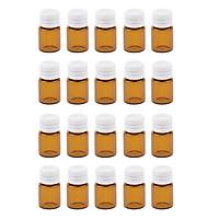 20 Pcs Portable Amber Mini Glass Bottles Sample Vial Small Essential Oil Bottles Travel Must Refillable 1ml/2ml