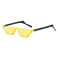 Novelty Pixelated Mosaic Glasses Funky Rimless Sun Glasses Eyewear Toys Blue