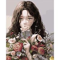 Tranh số hoá tự tô đã căng khung cô gái và chùm hoa, tranh tô màu theo số