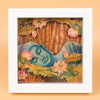 Tranh Để Bàn 3D Trang Trí Mopi - Chủ Đề Tranh Phật Giáo, Phật Tổ Như Lai Và Hoa Sen (Khung Tranh 18 x 18 x 3 cm)