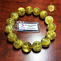 Chuỗi vòng tay đá Thạch anh tóc vàng VIP 14mm cho mệnh Thổ, mệnh Kim