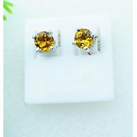 Bông tai nữ đá citrine tự nhiên vàng mài giác tròn