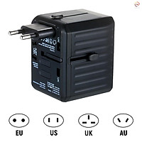 Travel Adapter 4 USB Worldwide All in One Universal Travel Adapter Wall Charger AC Plug Adaptor with Smart Power and Multiple Protection for USA EU UK AUS JP