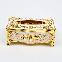 Hộp đựng giấy ăn hoa văn mạ vàng